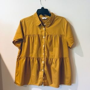 Mustard baby doll button up